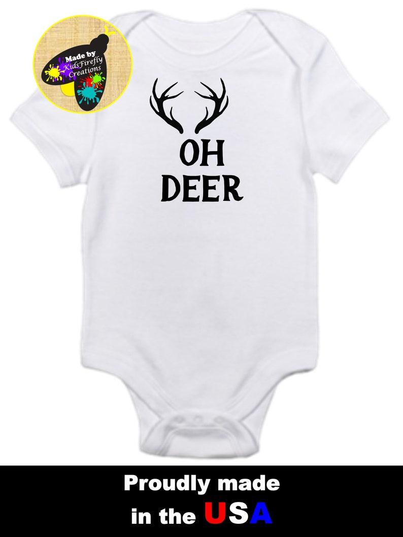 4723da2bb Oh deer funny baby onesie bodysuit antlers so cute | Etsy