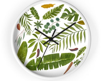 Cwall Clock Tropical Leaves