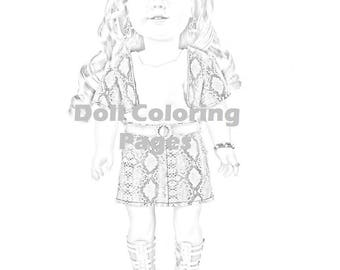 american girl doll tenney coloring pages | American Girl Doll Coloring Pages Tenney Grant Doll | Etsy