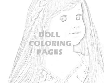american girl doll tenney coloring pages | Julie Albright Doll Coloring American Girl Doll Coloring | Etsy