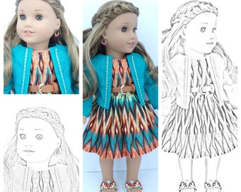 Twenty 20 Coloring Pages American Girl Doll Printed Packet Olivia