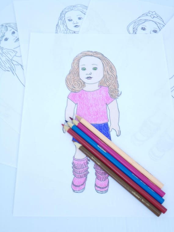 American Girl Doll Coloring Pages - Five Page Set - 5 PDF Digital Downloads  to Print and Color!