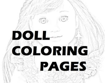 Twenty (20) Coloring Pages American Girl Doll PRINTED PACKET Olivia & Friends - Printed For You
