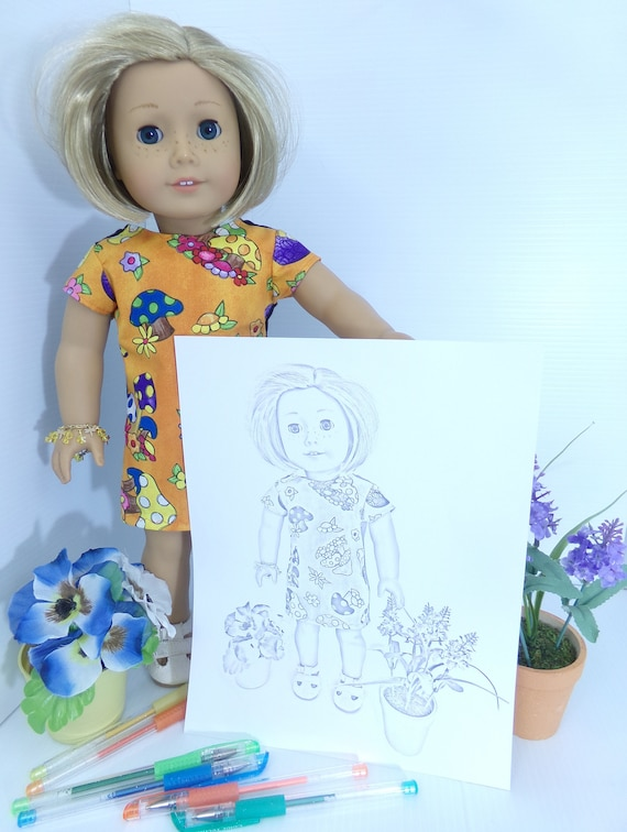 American Girl Doll Kit Kittredge Coloring Pages - Set of Three - Grayscale  Coloring - 3 jpeg Digital Downloads to Print and Color!