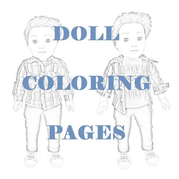 American Girl Doll Coloring Pages Logan Everett - Coloring Printables  Instant Downloads - Grayscale Coloring - 4 jpeg Digital Downloads