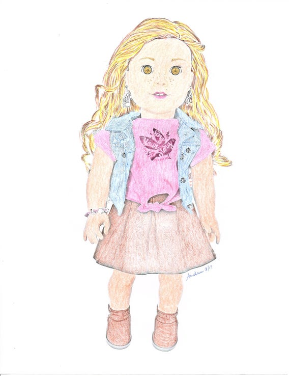 American Girl Doll Coloring Pages Tenney Grant Doll Photography - Adult  Coloring Grayscale Art - 3 jpg Digital Downloads to Print and Color!