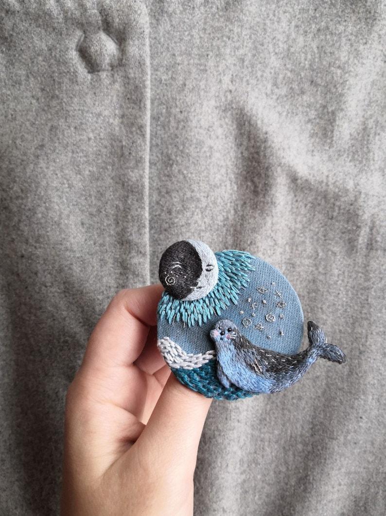 Brooch Marine history moon brooch hand embroidery seal sea brooch magic brooch