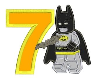 7th Birthday Lego Batman Applique Design 3 sizes for Instant Download