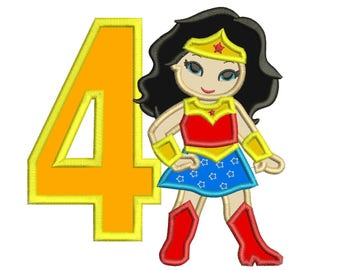 Wonder Woman 4th Birthday Applique Design 3 sizes for Instant Download