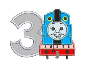 Thomas The Train 3rd Birthday Applique Design 3 sizes for Instant Download