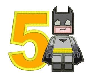 Lego Batman 5th Birthday Applique Design 3 sizes for Instant Download