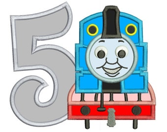 Thomas The Train 5th Birthday Applique Design 3 sizes for Instant Download