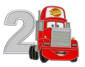 2nd Birthday Mack Truck Disney Cars Applique Design 3 sizes for Instant Download