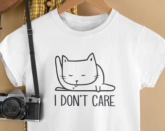 I Don't Care Cat Shirt / Cat Licking Butt, Funny Shirt For Teens, Gifts for daughter, Tshirt Designs, Funny Cat Tee