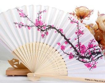 CHERRY BLOSSOM SILK Fans, Bamboo Fans, Wedding Favors, Souvenir, Bridal Shower, Quinceanera, Birthdays, Personalized (Set of 100, 200)