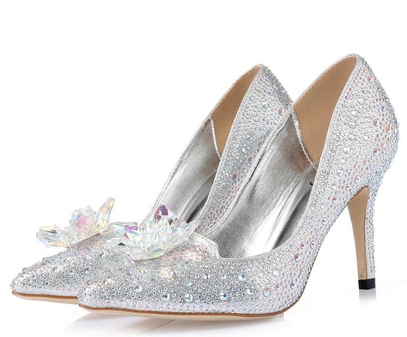 566978498ebd CINDERELLA WEDDING SHOES Bridal Silver Crystal Shoe Glass