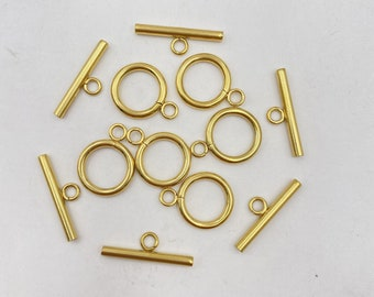 10sets Gold Stainless Steel Toggle Clasp 15mm OT Close Clasp Jewelry Findings