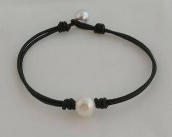 Bodai Süßwasser Perle Leder Armband handgemachte Perlen Schmuck für Frauen