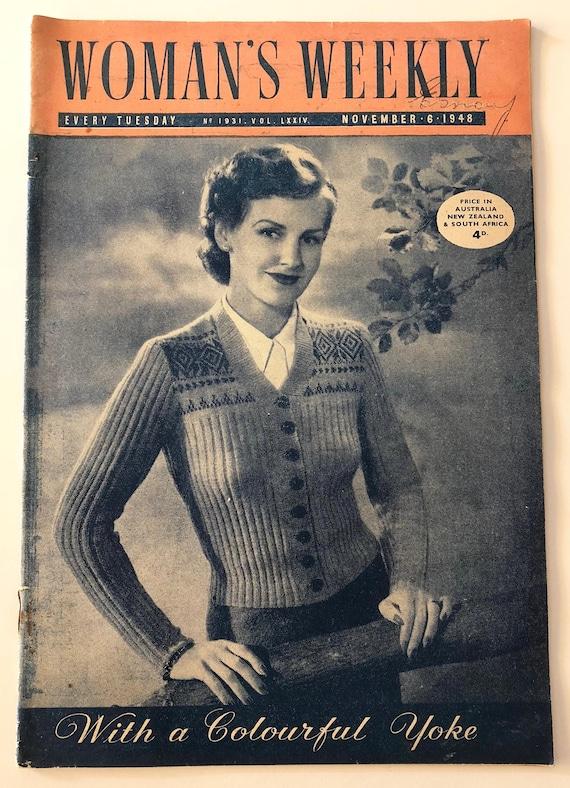 Vintage 1940s English Womans Weekly Magazine Knitting Patterns