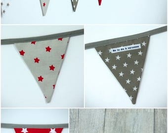 Garland pennants model 17 red, taupe and white