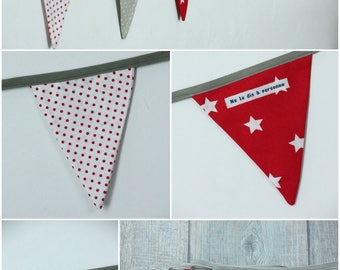 Garland pennants model 13 fabric in shades of red, taupe and white