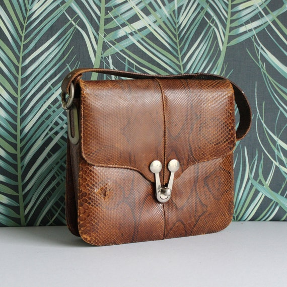 vintage real snakeskin top handle kelly bag with f