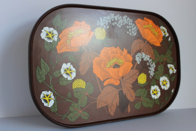 Vintage 70s retro small brown melamine tray with orange, yellow & white  flower design