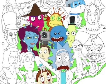 Rick and Morty characters downloadable coloring page