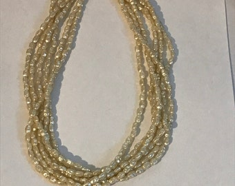 Vintage faux seed pearl multi strand necklace very 1980s