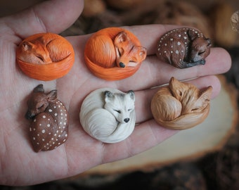 1  pc. Animal cabochon Fox cabochon Deer cabochon Sleeping animal Material for jewelry Fawn cabochon Cabochon Animal Jewelry  Polymer clay