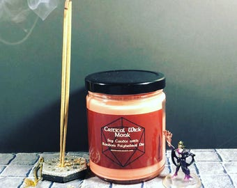 Monk Scented Tabletop Soy Candle with Random Polyhedral Die Inspired by Dungeons & Dragons and Pathfinder