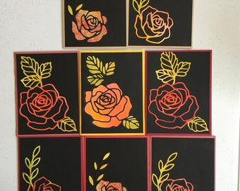 8 Handmade Rose Boxed Card Set #1