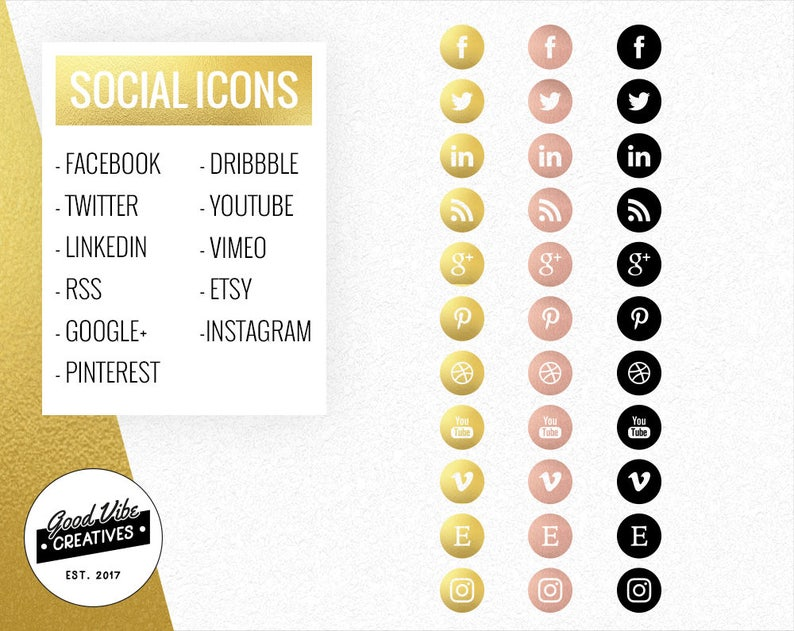 Gold Social Media Icons - Rose Gold Social Icons - Social Media Buttons -  Website Icons - Blog Buttons - Business Card Icons - Resume Icons