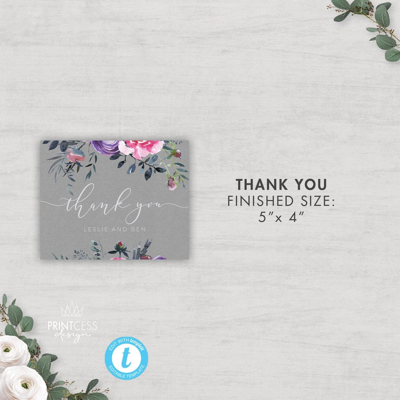 Floral Wedding Invitation Suite FULLY EDITABLE TEMPLATES