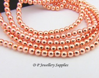 a3c883210a 4mm Rose Gold Hermatite Beads