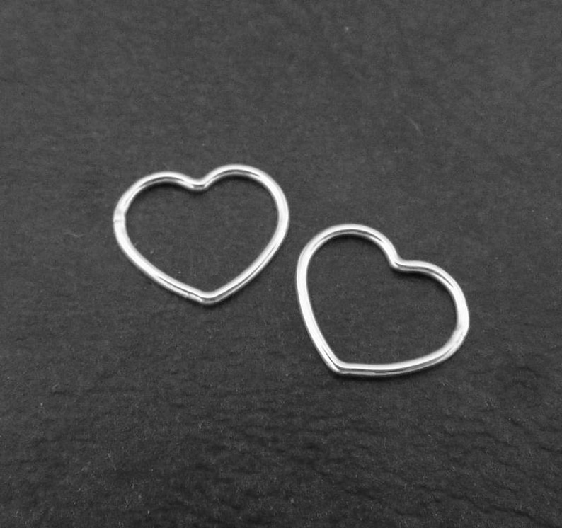 2 Heart Connector Charms, Sterling Silver Heart Connectors, Sterling Silver  Jewellery Supplies