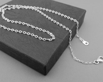 "18"" Trace Chain Necklace, Anti Tarnish Chain, Silver necklace Trace Chain, Jewellery Supplies."