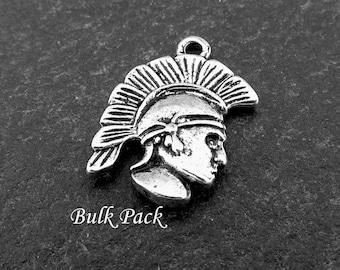 Roman Charms Bulk Pack, 20 Silver Spartan Charm, Soldier Charm, Army Charms, Roman Jewellery Supplies
