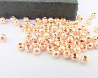 4mm Rose Gold Sparkle dust Beads, 100 Rose Gold Beads Jewellery Supplies