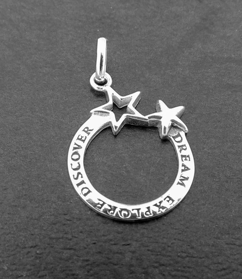 Sterling Silver Dream Explore Star Charm 1pc Charms Star Charm Motivational Charm Good Luck charm Sterling Silver Jewellery Supplies