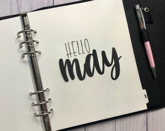 May Monthly Minimalist Vellum Dashboard / Insert for Ring Planners