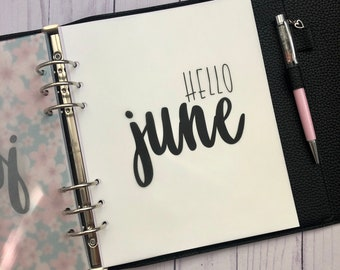 June Monthly Minimalist Vellum Dashboard / Insert for Ring Planners
