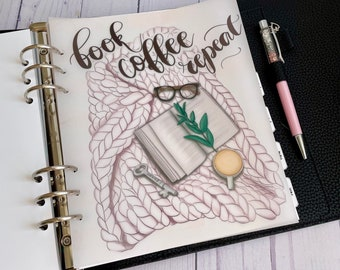 Book Coffee Repeat Cardstock Vellum Dashboard / Insert for Ring Planners