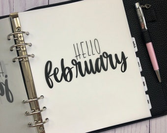 February Monthly Minimalist Vellum Dashboard / Insert for Ring Planners