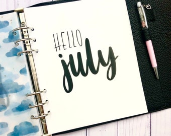 July Monthly Minimalist Vellum Dashboard / Insert for Ring Planners