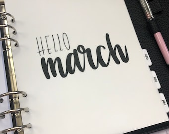 March Monthly Minimalist Vellum Dashboard / Insert for Ring Planners