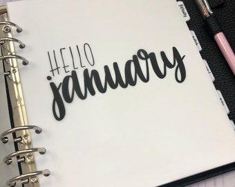 January Monthly Minimalist Vellum Dashboard / Insert for Ring Planners