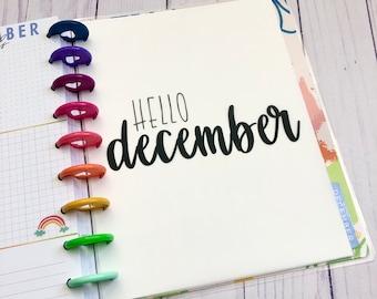 December Monthly Minimalist Vellum Insert / Dashboard for Discbound / Happy Planner