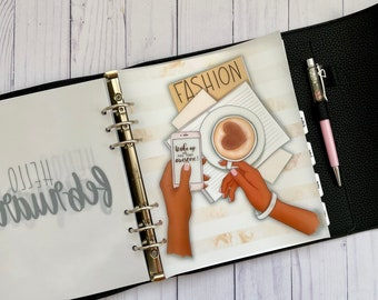Coffee and Fashion Cardstock Vellum Dashboard / Insert for Ring Planners