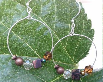 Silver and browns hoop dangle earrings